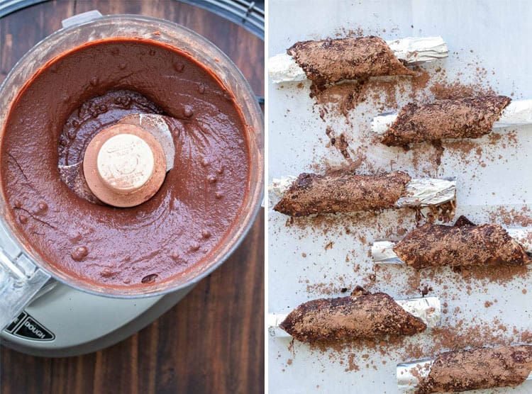 Collage of food processor with creamy chocolate mixture and chocolate cannoli shells on a baking sheet
