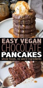 Because chocolate goes with anything, let's start our day with the best fluffy vegan chocolate pancakes ever! Heck, let's end it with them too. Easily customizable with all the toppings, so get shamelessly decadent and make them your own. #veganbreakfast #veganrecipes #ad