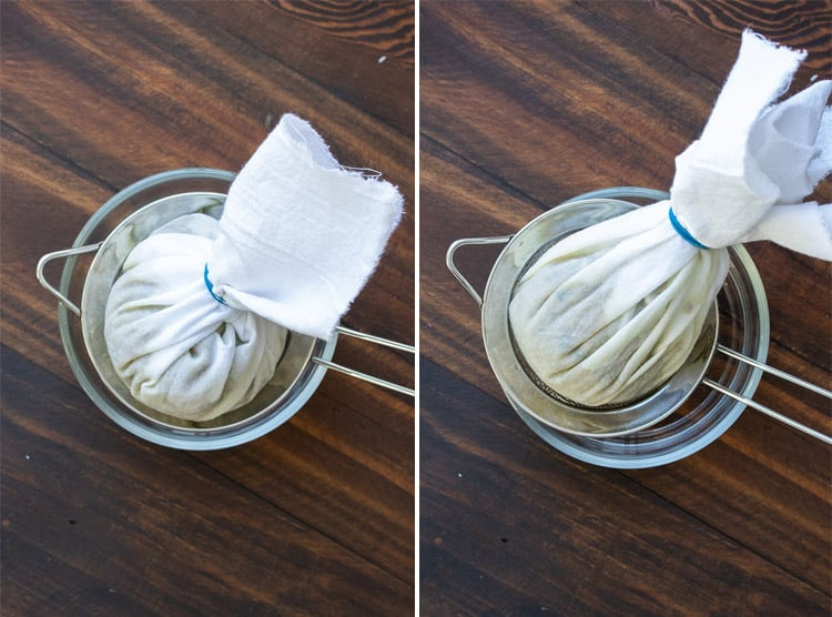 Collage of a round shaped filled cheesecloth and a cone shaped filled cheesecloth