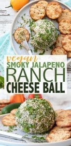 A flavor bomb of an appetizer to blow the minds of cheese lovers everywhere. This easy smoky jalapeño ranch vegan cheese ball is the perfect party addition! #veganappetizer #vegancheese