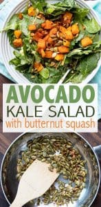 This rich and filling avocado kale salad is the perfect starter or main dish. It comes together so easy and covers all the bases for a well rounded meal! #saladrecipes #vegansalad