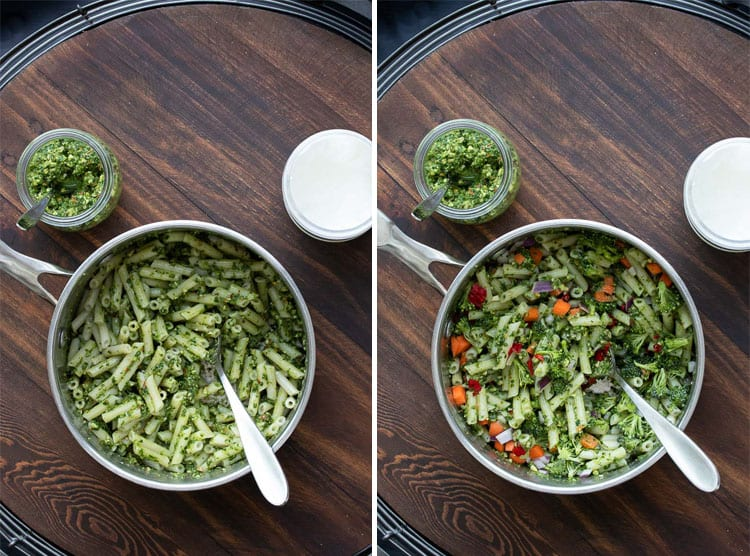Collage of pesto being mixed into a pot of penne and chopped veggies being mixed in