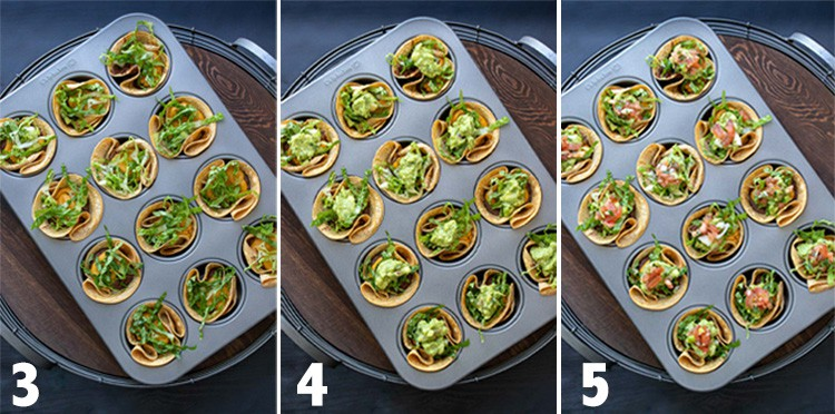 Collage of steps to filling crunchy taco cups in a muffin tin