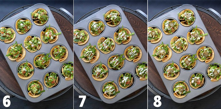 Collage of crunchy taco cups in a muffin tin being filled with toppings