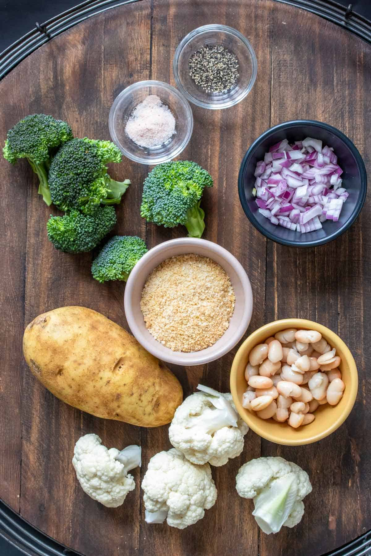 Baked broccoli and cauliflower stems and tots with creamy dip