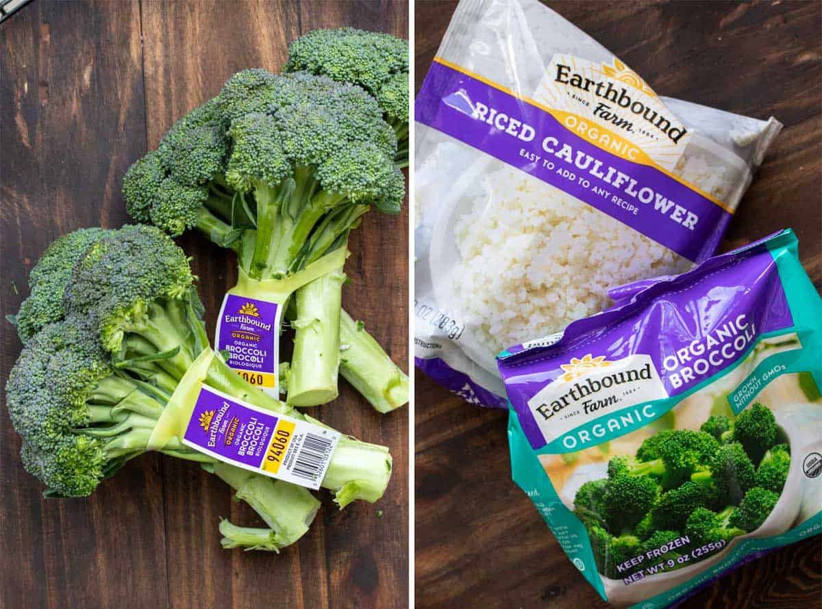 Collage of broccoli stalks and a bag of frozen broccoli and cauliflower