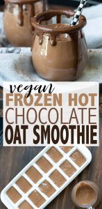 Rich, thick and amazingly decadent without all the unhealthy ingredients. This frozen hot chocolate oat smoothie is so good, you'll have no idea it's vegan! #vegansmoothierecipes #healthytreats