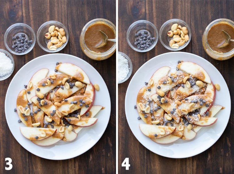 Collage of apples nachos topped with caramel, chocolate chips, peanuts and coconut