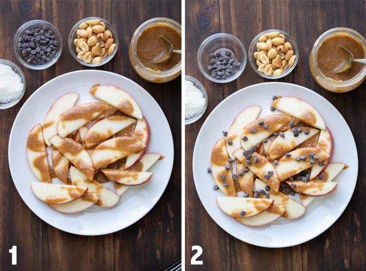 Collage of sliced apples topped with caramel and then chocolate chips