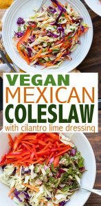 An easy to make no mayo Mexican coleslaw that pairs well with anything! Eat it in tacos, as a side salad or even as a main dish piled with toppings. #mexicanfoodrecipes #healthysalads