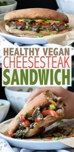 Only 20 minutes to a healthy easy dinner your whole family will love! This vegan cheesesteak mushroom sandwich is the perfect anytime meal. #vegansandwich #easyveganrecipes