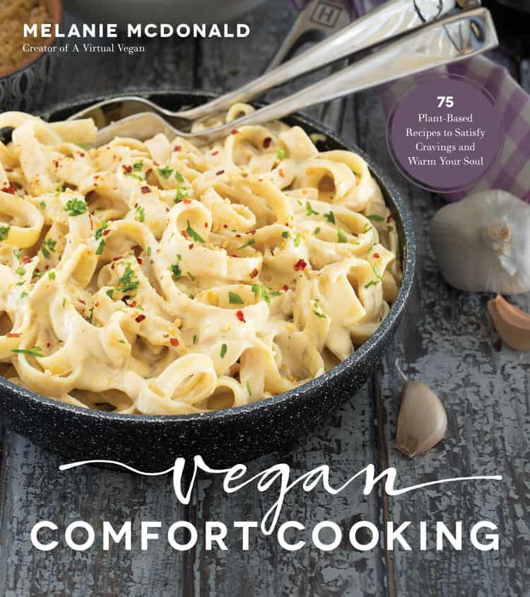 Cookbook cover with a bowl of Alfredo pasta on the front