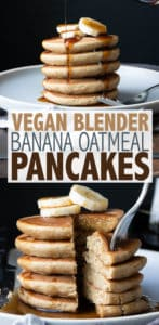 Vegan banana oatmeal blender pancakes are so delicious, fluffy, and soft you'll have no idea they are made with healthy whole food ingredients! #veganbreakfastrecipes #easyveganrecipes
