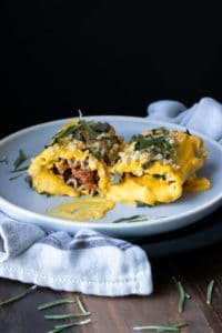 Ultra rich and creamy vegan butternut squash lasagna roll ups will hit the spot like nothing else! The perfect rich flavor rolled into a veggie filled meal. #veganitalian #vegancomfortfood