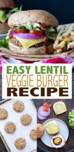 An easy lentil veggie burger recipe that uses up any veggies you have hanging around. It's flavorful, has a great texture and can even be made gluten-free! #veganburger #easyveganrecipes