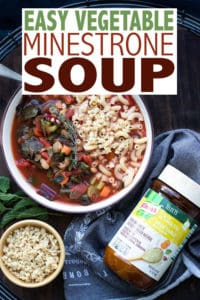 "#AD The best veggie filled minestrone soup like you've never seen before! Inexpensive to make, easy to throw together and uses up leftover veggies so less waste! Plus @knorr Selects Vegetable Granulated Bouillon takes this recipe from ""yeah that's good"" to ""I think I'm going to burst I ate so much!"" #vegetarianrecipes and #vegetablesoup #KnorrPartner"