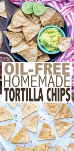 You will not believe the crunchy results in these oil-free baked corn tortilla chips! So easy to make, and customizable with flavors! #vegansnacks #oilfreevegan