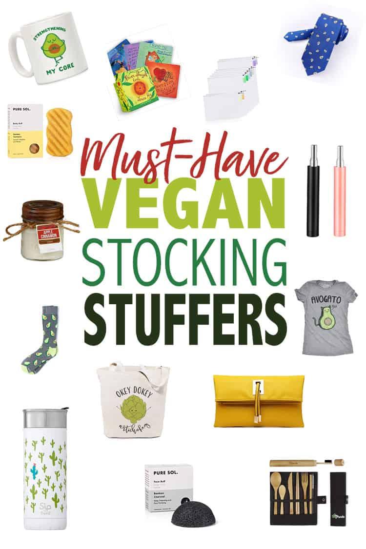 Collage of vegan stocking stuffer ideas