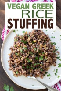 Make this traditional Greek vegan rice stuffing for your next holiday dinner. Super flavorful and adds a great element of uniqueness to your holiday table! #veganholidayrecipes #vegansidedishes