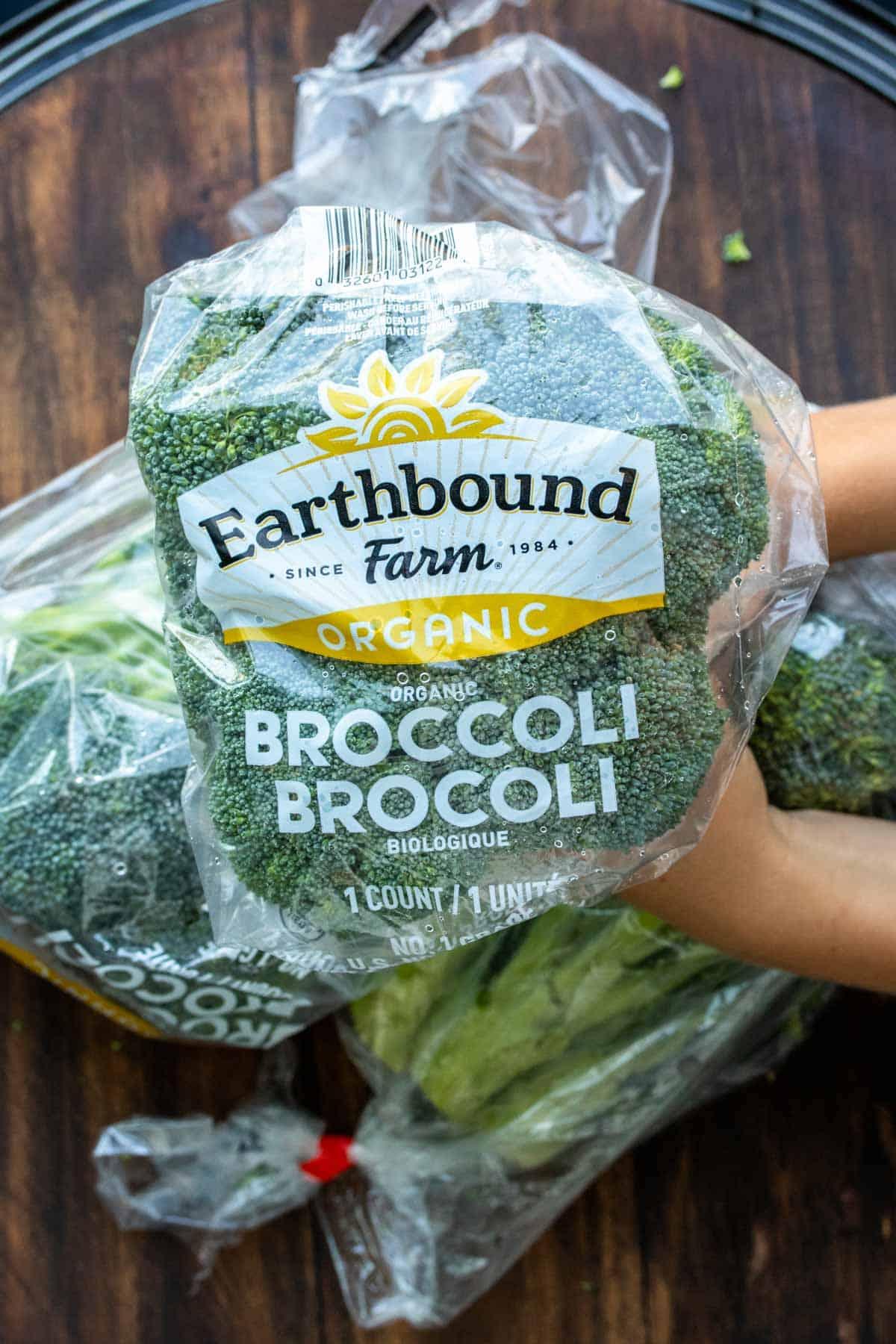Hands holding a stalk of Earthbound Farm Arganic broccoli