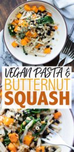 This pasta with roasted butternut squash uses an amazing combination of flavors that will switch up your boring pasta routine. Bonus that it's so easy! #veganpasta #vegetarianmeals