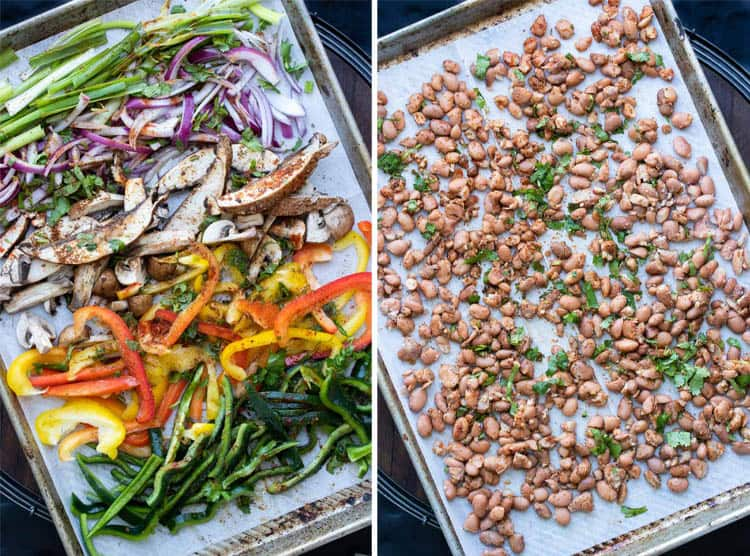 Collage of uncooked colorful veggies and beans lined up on two pans