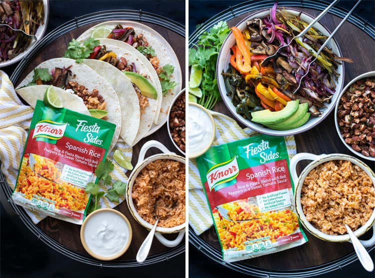 Collage of a packet of ready Mexican rice next to fajitas in tortillas and fajita parts in bowls