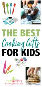 Ideas for the best kids cooking gifts for those little loved ones. Toys are great but when you can teach important skills and have fun, it's even better! #kidsgiftideas #cookinggifts