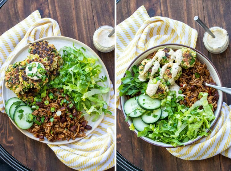 Collage of zucchini fritters and sides on a plate and in a bowl