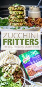 These vegan and gluten free zucchini fritters not only give you a dinner idea, they keep you fed for days. One recipe, many ways to serve it! #KnorrPartner #ad #vegetarianrecipes #cheapdinners