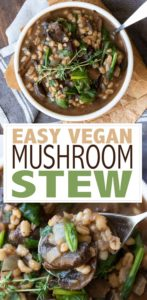 This easy vegan mushroom stew recipe is the perfect cozy meal for those busy nights. It comes together quickly and has an amazing depth of flavor! #vegansoup #vegancomfortfood