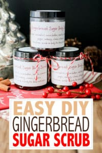 The best part of the holidays is being able to take those flavors and use them for more than baking. This DIY Gingerbread Sugar Scrub is the perfect use! #diychristmasgifts #homemadegifts