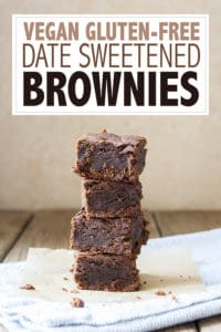 Heavenly vegan date sweetened brownies that are chewy and deliciously fudgy. These are gluten-free, easy to make and amazing! You NEED these in your life! #vegandesserts #glutenfreerecipes