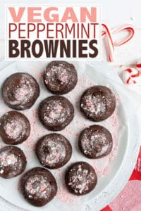 Combine the delicious flavors of peppermint and chocolate to make these Vegan Gluten-Free Peppermint Brownies. Makes the perfect gift for chocolate lovers! #peppermintbrownies #browniesrecipes