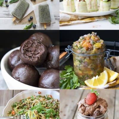 Collage of raw vegan breakfast, lunch, dinner and snack foods