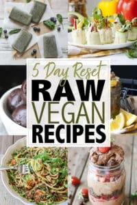Feed your body with five whole days of fresh, healthy and delicious raw vegan recipes! Everything is easy to throw together and super satisfying. #veganmealplan #rawveganrecipes