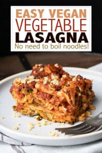 Not only is this vegan lasagna dairy free, but it is also super easy! With no boiling of the noodles required, it comes together quickly and with no fuss. #veganitalianrecipes #dairyfreedinner