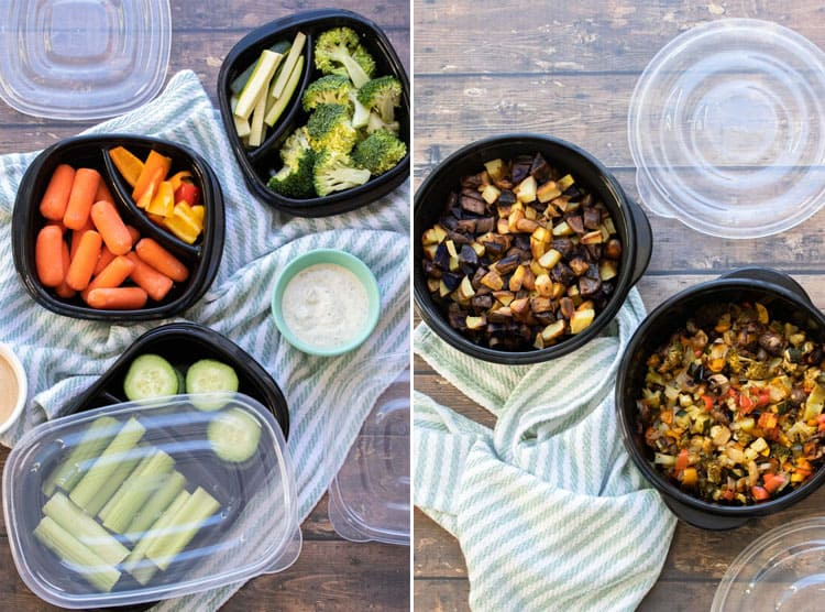 Collage of chopped raw veggies and sautéed veggies in black containers
