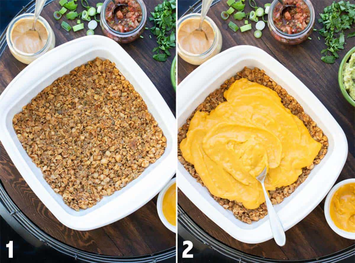 Collage of vegan meat and dairy free cheese layers in a baking dish