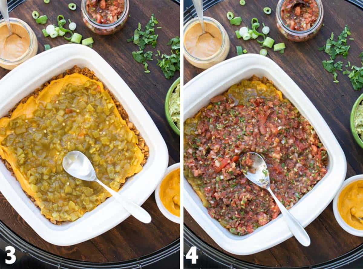 Collage of baking dish filled with diced chili and salsa layers from a 7 layer dip