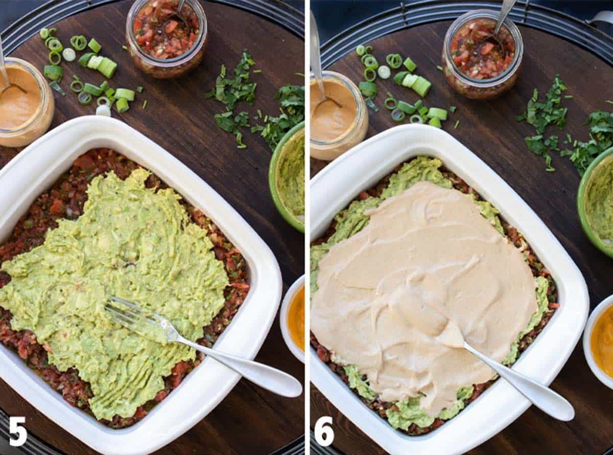 Collage of guacamole and creamy taco sauce being layered on a 7 layer dip