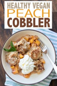 This healthy vegan peach cobbler is a simple, sweet and perfect way to feed that dessert craving! It's easy to put together and rock your world delicious! #vegandesserts #healthydesserts