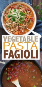 Grab a spoon and dig into the best vegetable pasta fagioli recipe! It's super easy to make and so warm and comforting. Plus filled with veggies and protein! #vegetablesoup #easyvegansoup