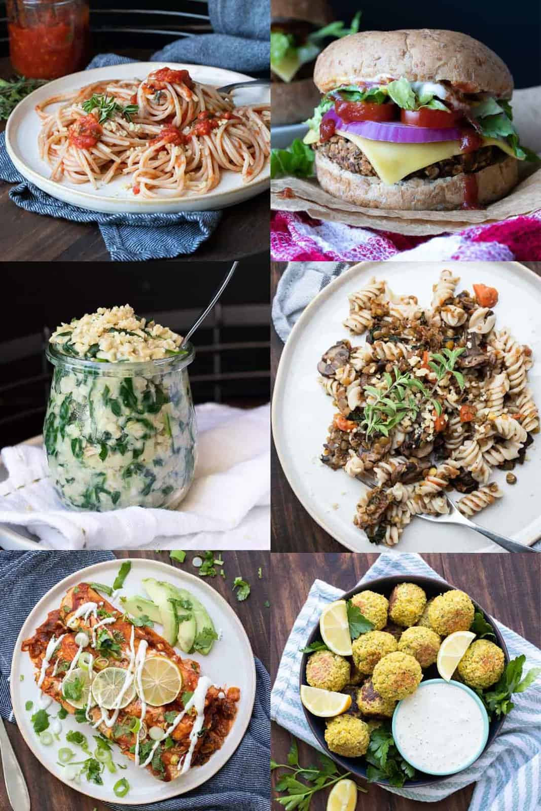 Collage of meals all made with vegan pantry staples