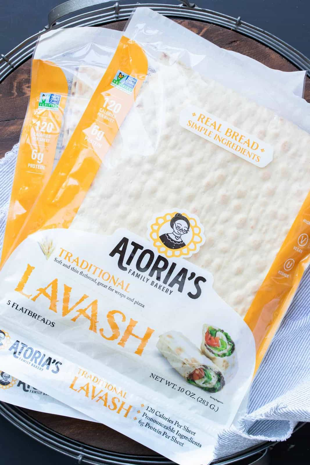 Pile of two orange packages of lavash bread