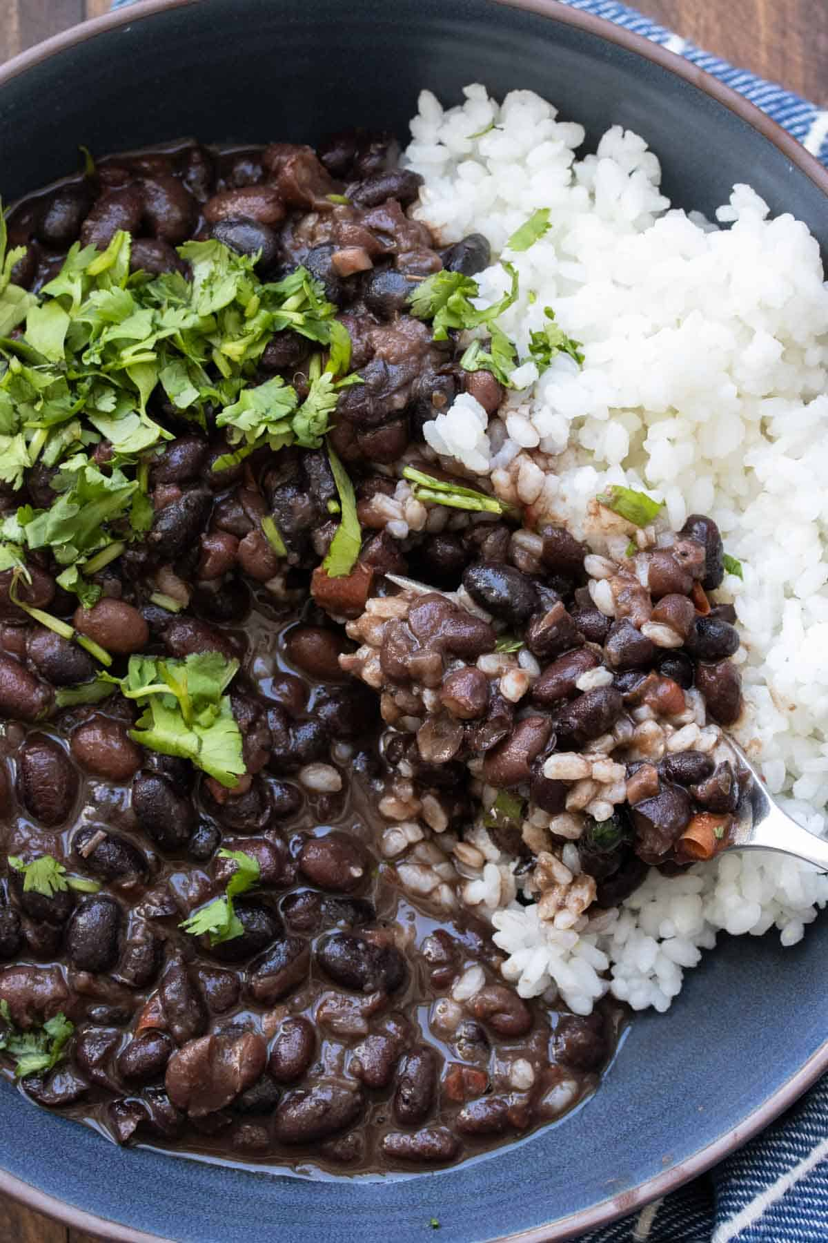 Fork taking a bite of black beans and white rice with chopped cilantro
