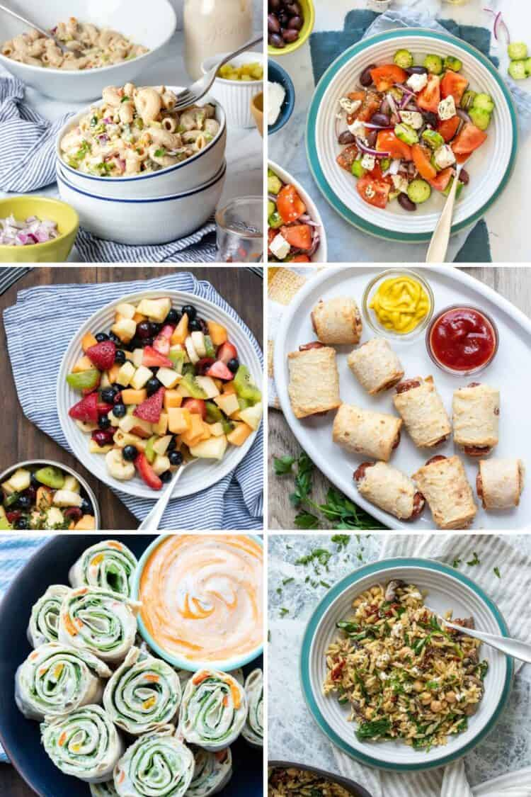 Collage of different picnic foods