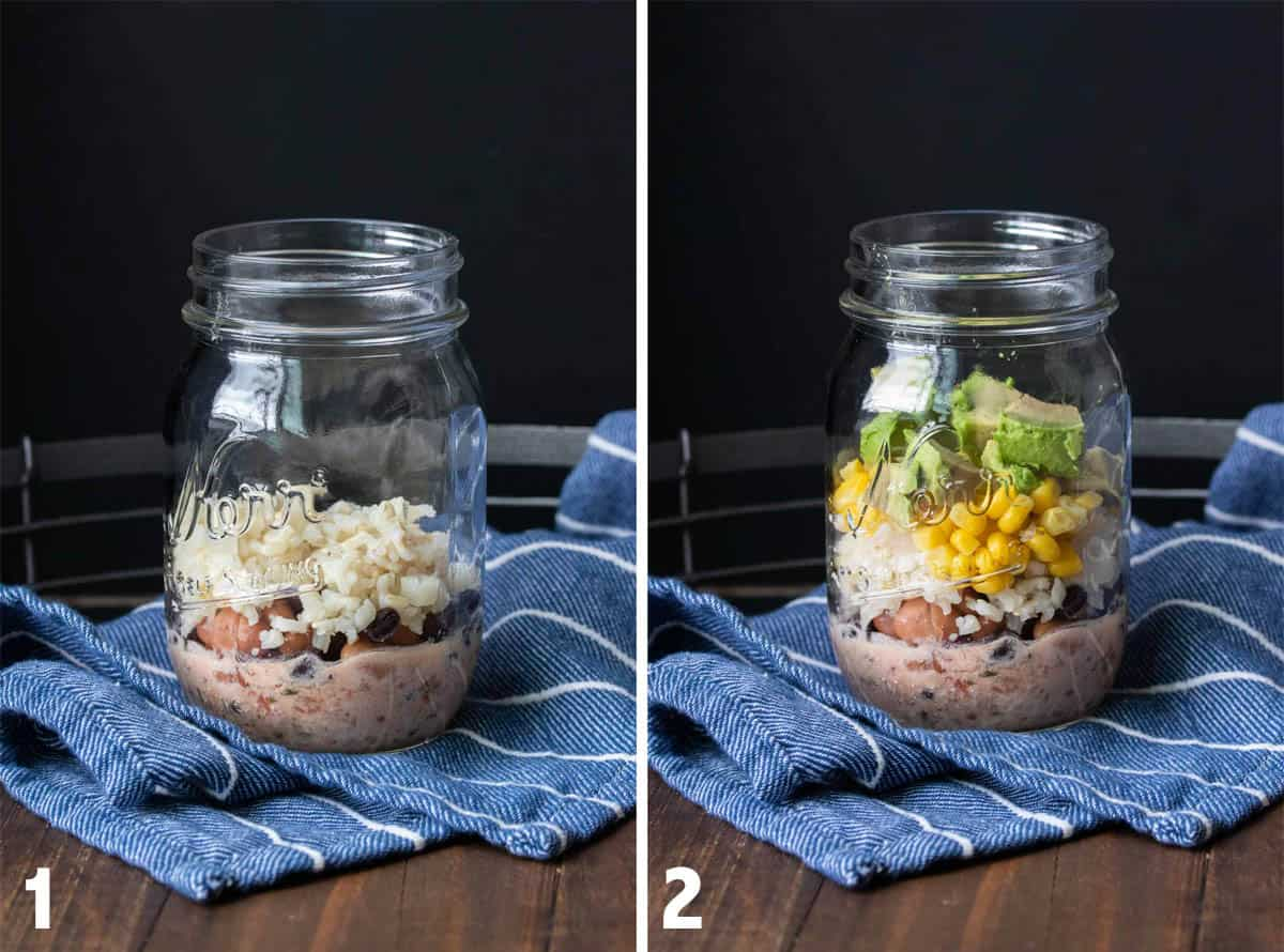 Collage of mason jar salads being built with different ingredients