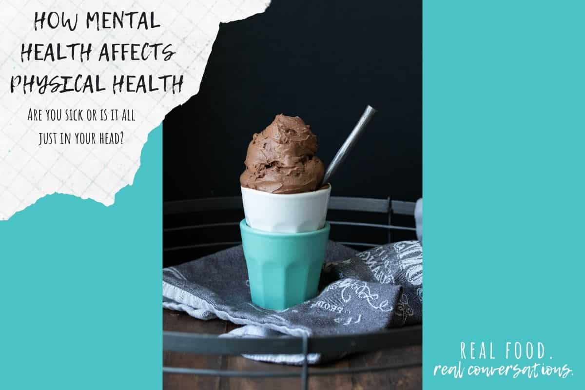 Turquoise background with a photo of ice cream and text overlay about emotional health