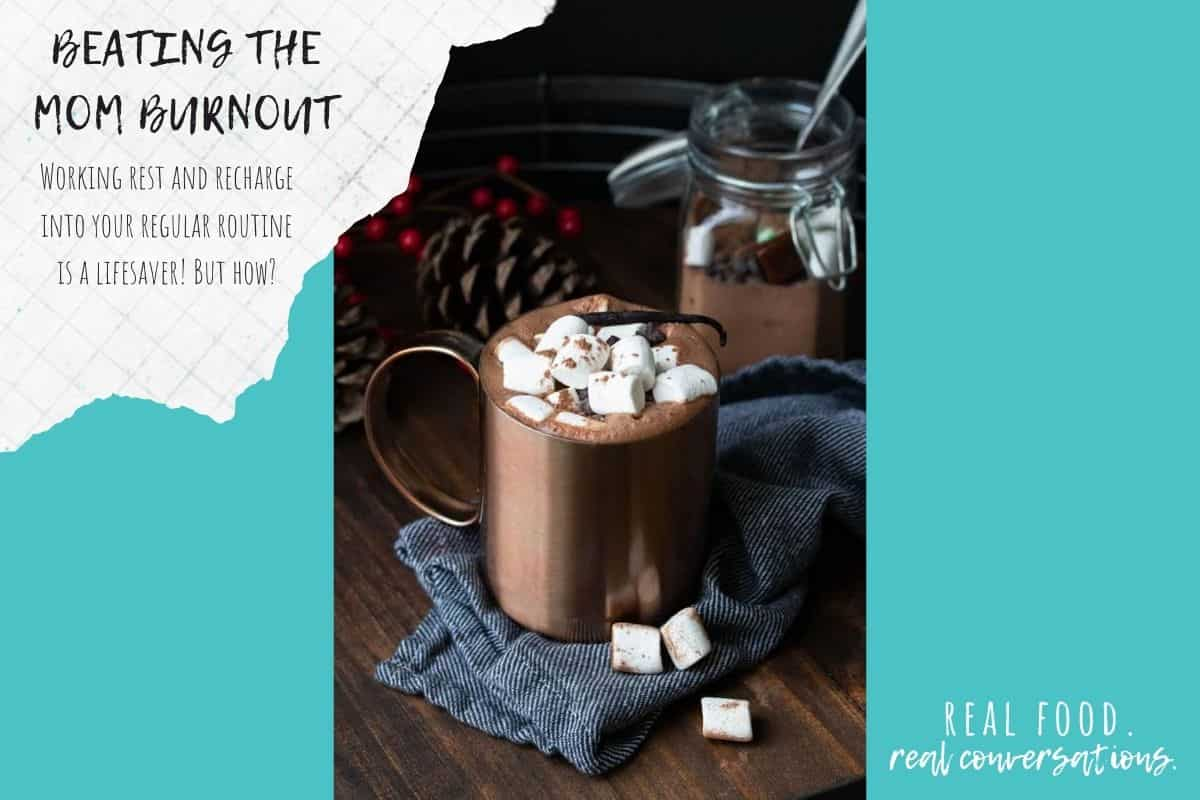 Overlay text on burnout next to a photo of hot cocoa on a turquoise background